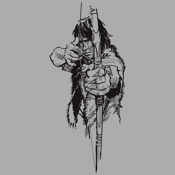Thorgal z łukiem - T-shirt szary - wzór