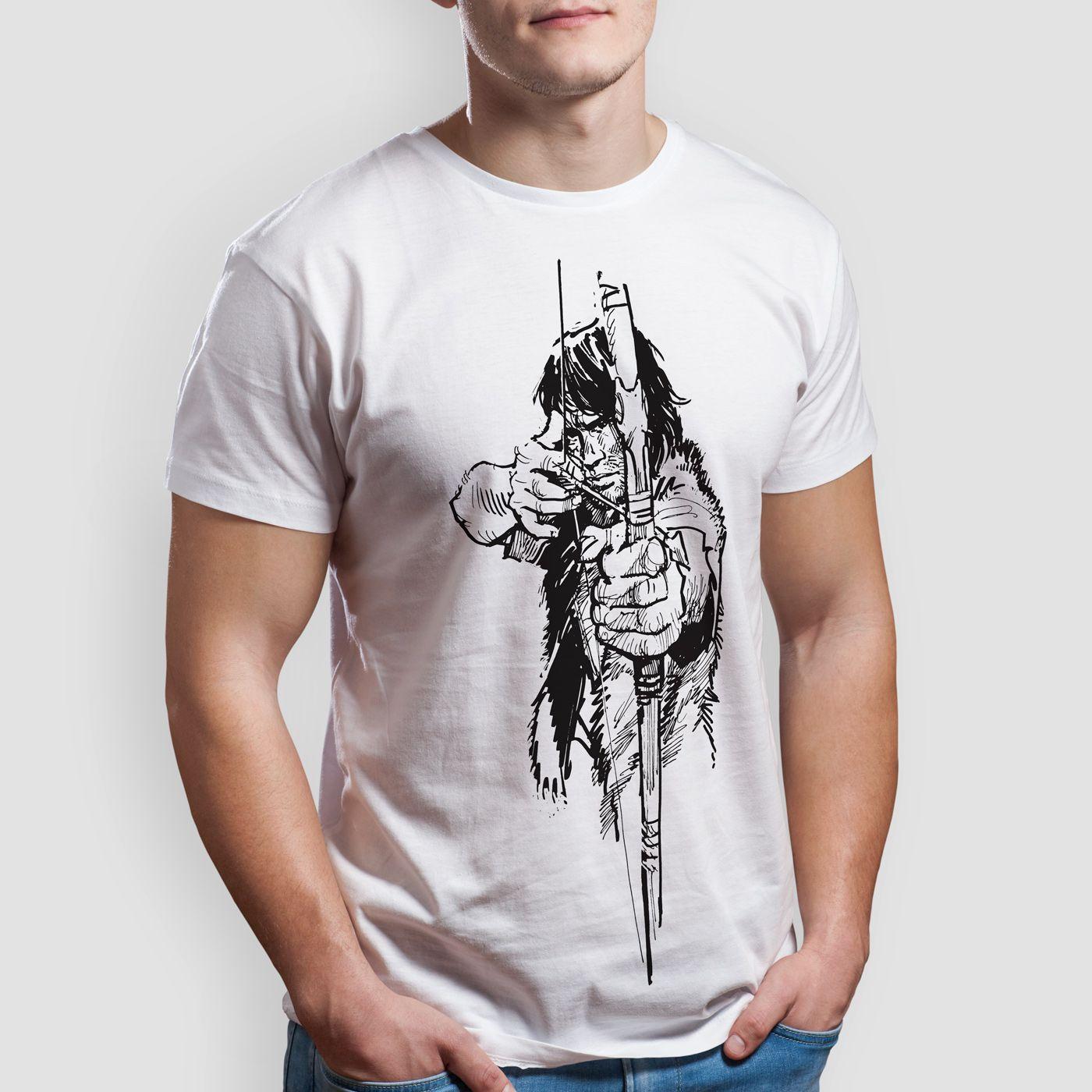 Thorgal z łukiem - T-shirt męski biały