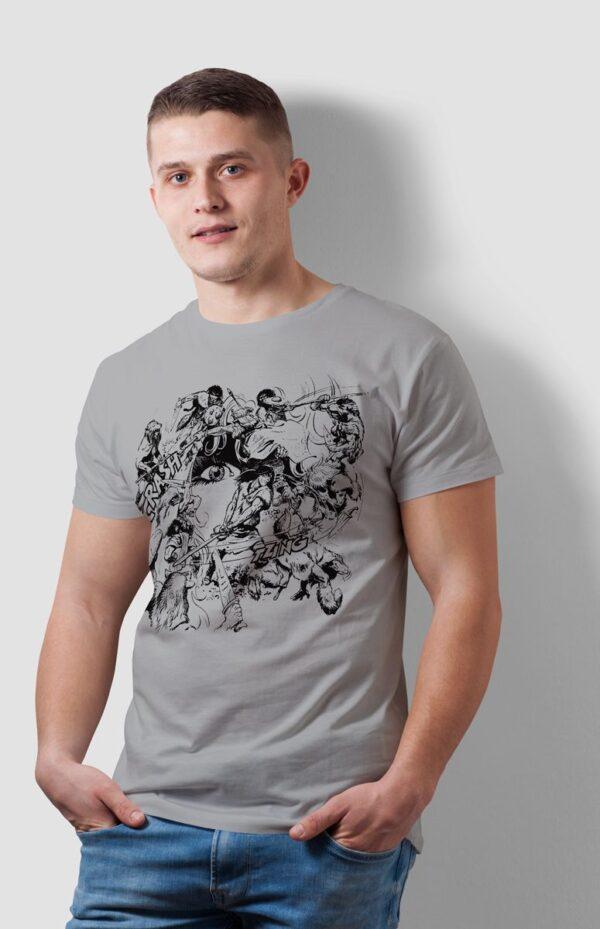 Walka w kręgu - T-shirt męski szary - model