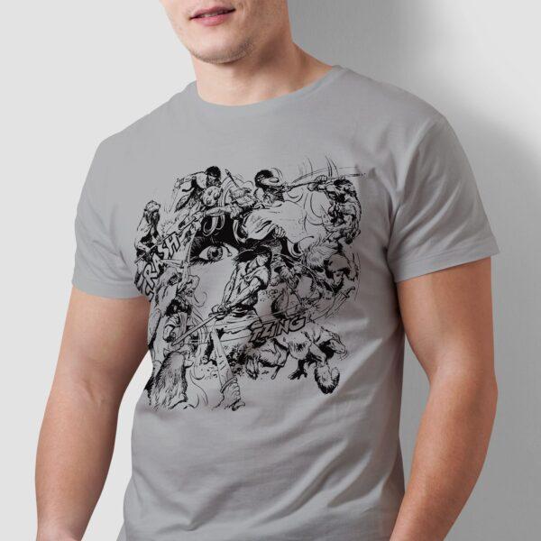 Walka w kręgu - T-shirt męski szary