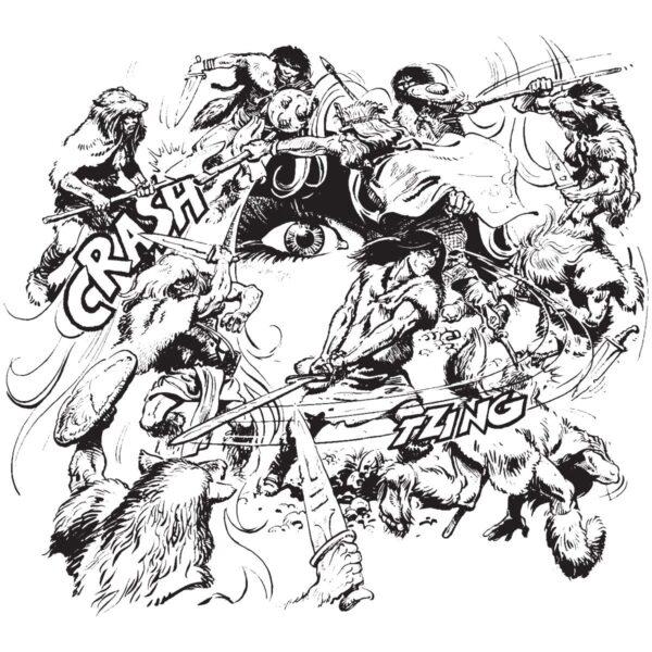 Walka w kręgu - T-shirt biały - wzór